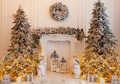 Christmas tree fireplace backdrop with white bear-cheap vinyl backdrop fabric background photography