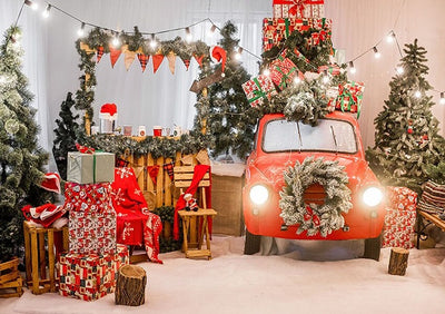 Christmas photography backdrops with red car-cheap vinyl backdrop fabric background photography