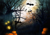 Haloween photography backdrop dead trees and pumpkins