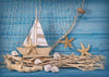 Baby birth party photography summer backdrop sailing boat starfish-cheap vinyl backdrop fabric background photography