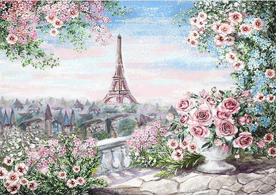 Oil painting flower backdrop with Eiffel tower-cheap vinyl backdrop fabric background photography