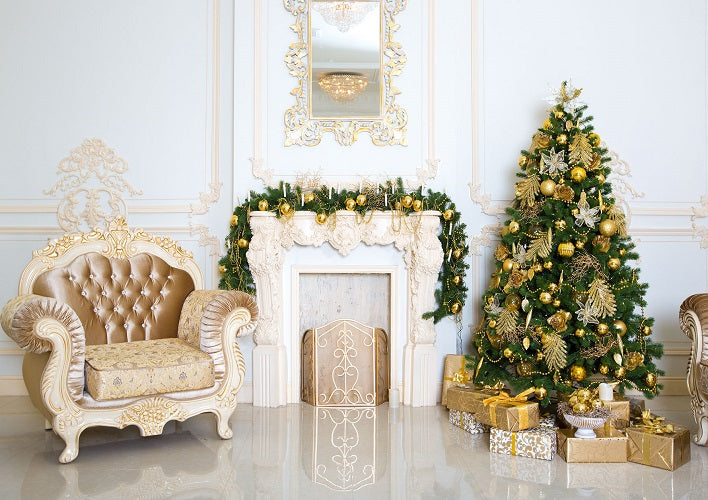 Living room backdrop gold Christmas tree and gift boxes-cheap vinyl backdrop fabric background photography