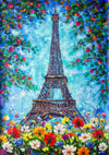 Oil painting backdrop flower background with Paris tower-cheap vinyl backdrop fabric background photography