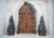Christmas pine tree background door backdrops