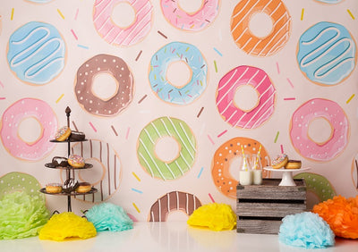 Cake smash backdrop donut theme background-cheap vinyl backdrop fabric background photography
