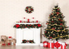 Christmas backdrop white fireplace and Christmas tree background-cheap vinyl backdrop fabric background photography