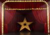 Red stage backdrops with stars and small lights
