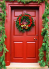 Christmas backdrop red door decoration picture background-cheap vinyl backdrop fabric background photography