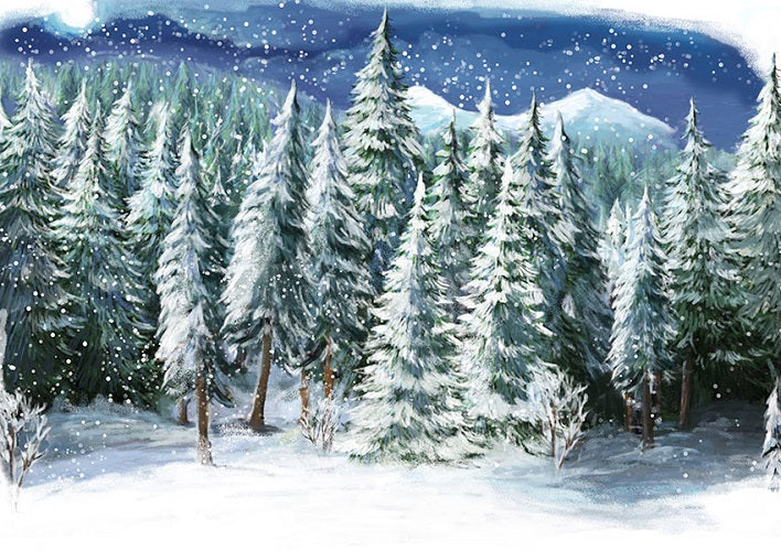 Super Christmas snowing pine tree backdrops winter outdoor background RW14