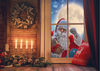 Santa Claus background Christmas backdrop with candle photo-cheap vinyl backdrop fabric background photography