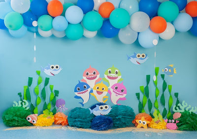 Shark backdrop summer background cake smash-cheap vinyl backdrop fabric background photography