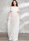 White lace dress for maternity photography