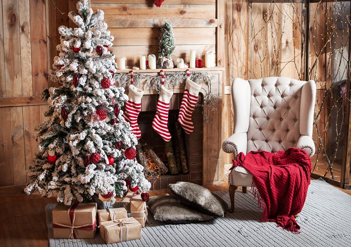christmas backdrop fireplace and gift stockings