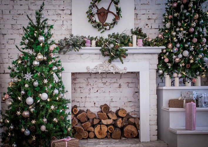 Christmas Photo Backdrop White Fireplace Background For Sale