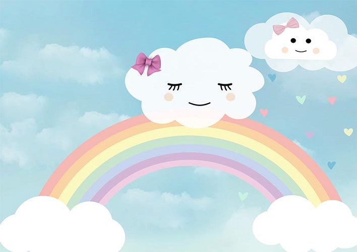 Shop Baby Birthday Photo Backdrop Rainbow And Clouds