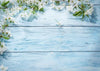 Blue wood flower backdrop for newborn-cheap vinyl backdrop fabric background photography