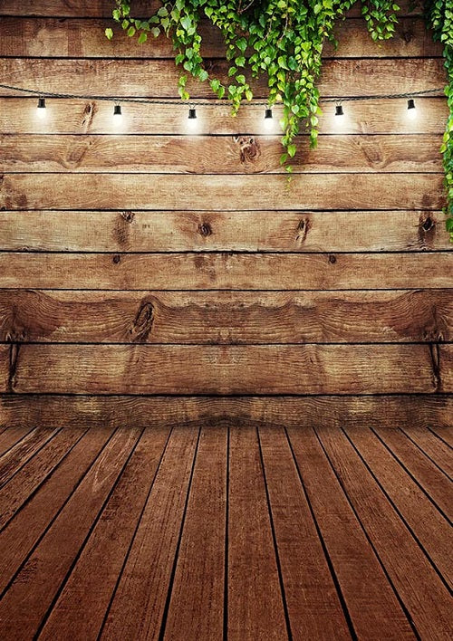 Shop Brown Wood Wall Floor Backdrop With Green Leaves