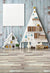 Christmas tree shaped bookshelf shabby white wooden planks backdrop