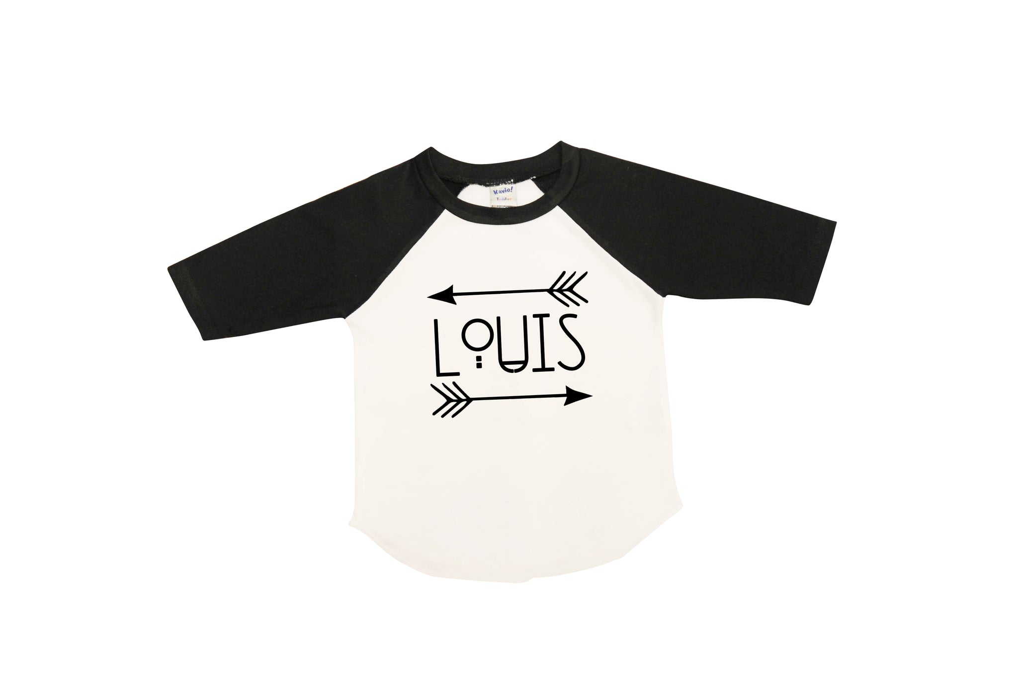 Name with Arrows Tribal Design | Black and White Raglan shirt | Boys | 004