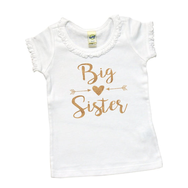 Big Sister with Arrows and Heart | Short Sleeve White Ruffle Shirt | Siblings, Girls | 032