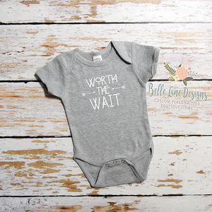 Pregnancy Announcement Worth The Wait Body Suit, New Baby for Dad 037
