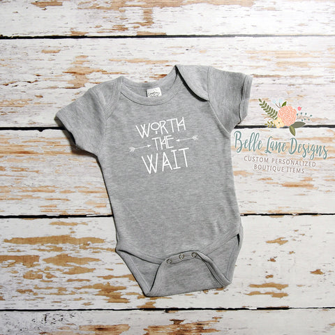 Worth The Wait with Arrows | Short Sleeve Onesie | Girls, Boys, Pregnancy Announcement | 037