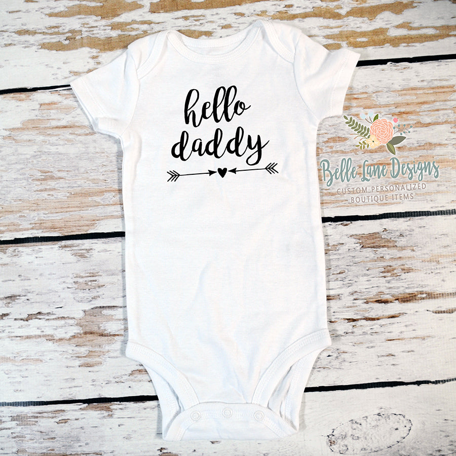 Pregnancy Announcement Hello Daddy Body Suit, Expecting Baby Gift 110