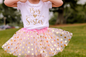 Girl's Big Sister Shirt White Ruffle Sleeve, Promoted to Big Sister Shirt 032