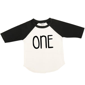 One | Black and White Raglan Shirt | Boy's Birthday, Boys | 295