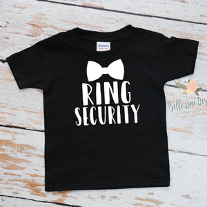 Ring Security with Bow Tie | Black Short Sleeve Shirt | Boys, Wedding | 300