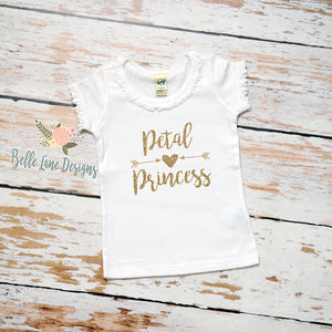 Petal Princess with Arrows and Heart | Short Sleeve White Ruffle Shirt | Wedding, Girls | 305