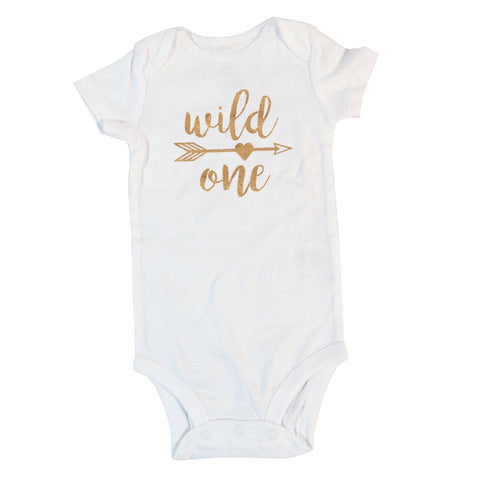 Wild One with Arrow and Heart | Short or Long Sleeve Onesie | Girl's Birthday, Girls | 347