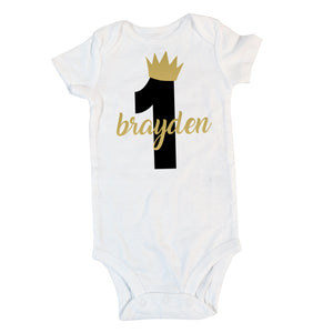 Boy's Wild One Birthday Boy Onesie with Name, Personalized Boy's First Birthday Outfit 366