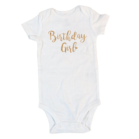 Birthday Girl with Heart | Short or Long Sleeve Onesie | Girl's Birthday, Girls | 367