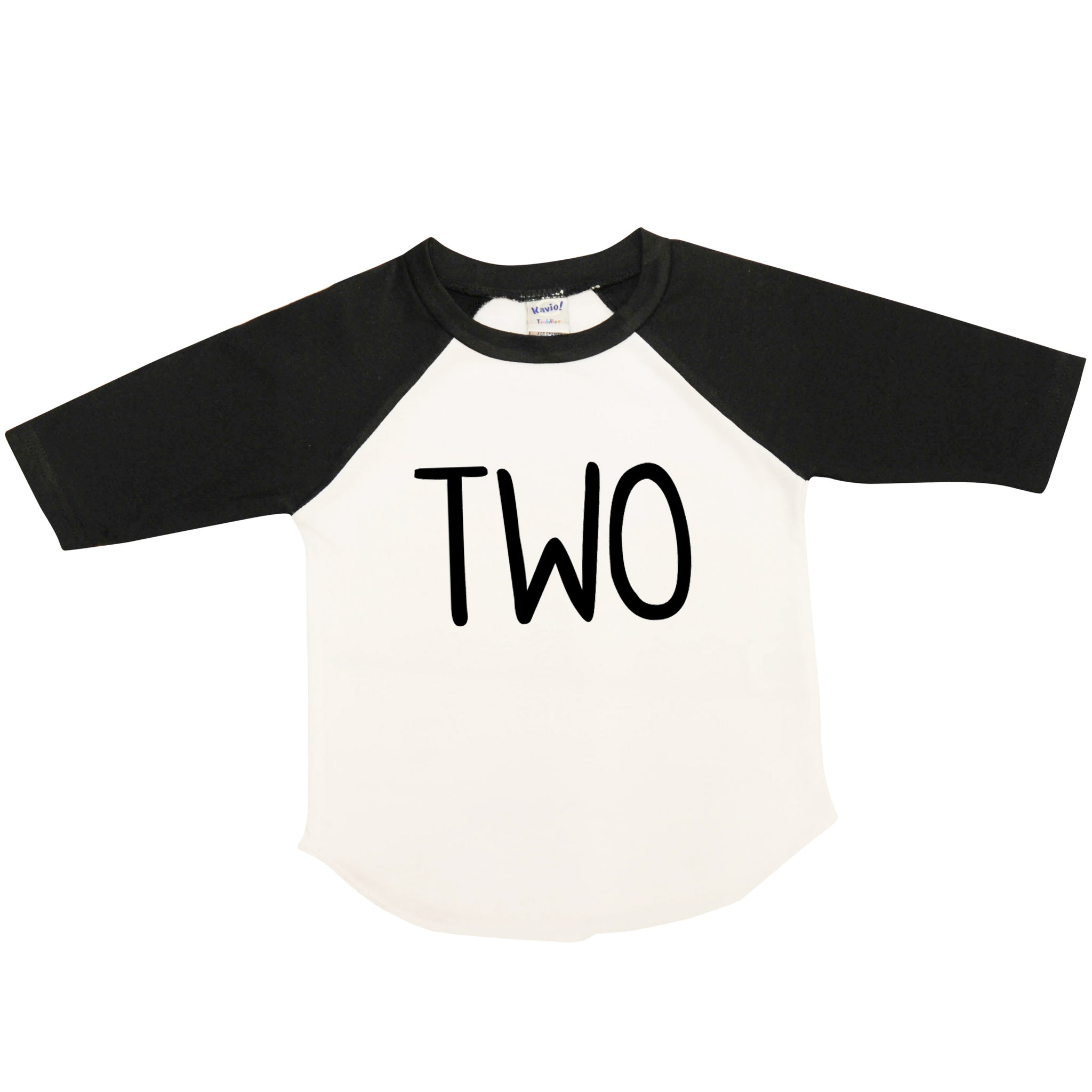 Boy's Second Birthday Shirt, Raglan Black and White, Two, Black Font Only 414