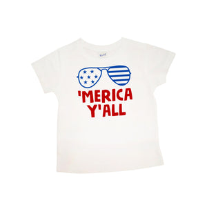 'Merica Y'all with Sunglasses | Short Sleeve Shirt | Fourth of July, Girls, Boys | 420