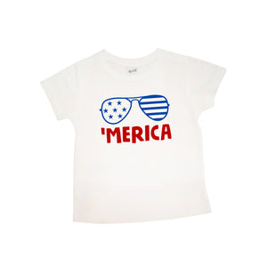 'Merica with Sunglasses | Short Sleeve Shirt | Fourth of July, Girls, Boys | 421