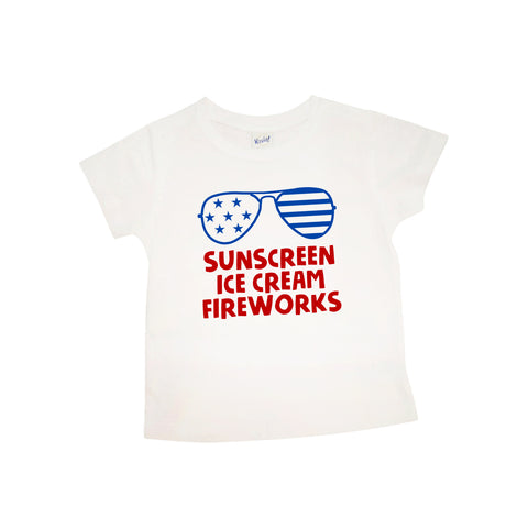 Sunscreen Ice Cream Fireworks with Sunglasses | White Short Sleeve Shirt | Fourth of July, Girls, Boys | 425