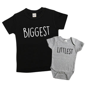Sibling Set of Shirts, Girl's or Boy's Unisex Sibling Shirt Set, Pregnancy Announcment Shirts 436 Black and Grey