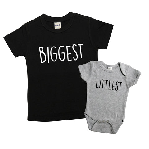Biggest and Littlest Shirt Set | Black Short Sleeve and Grey Onesie | Girls, Boys, Siblings, Pregnancy Announcement | 436