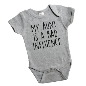 My Aunt Is a Bad Influence Tshirt for Girl's or Boy's Toddlers, Aunt Shirt, Best Aunt Ever Gift 451 Grey Body Suit