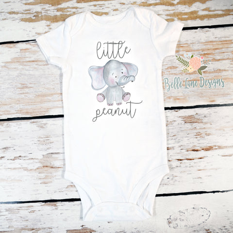 Little Peanut Elephant | Long or Short Sleeve Onesie | Girls, Boys, Pregnancy Announcement | 491