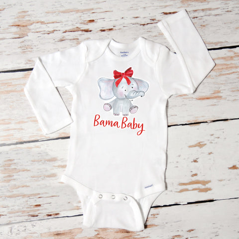 Bama Baby Elephant with Bow | Onesie | Girls | 506