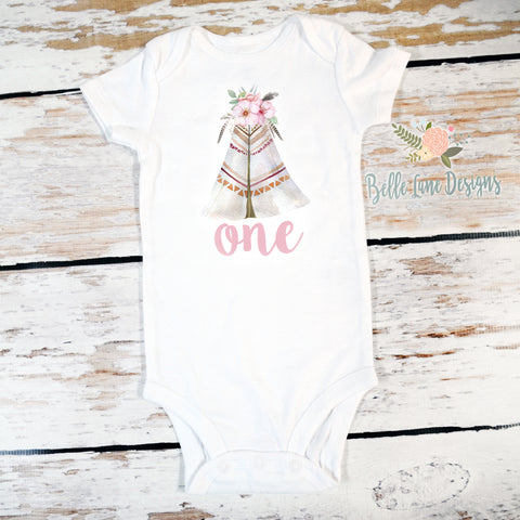 Boho Wild One Tipi | Short or Long Sleeve Onesie | Girl's Birthday, Girls | 525