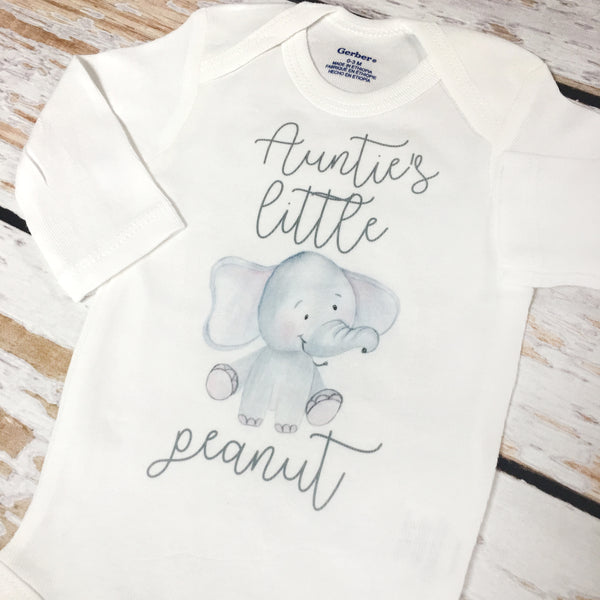 Auntie's Little Peanut Elephant | Short or Long Sleeve Onesie | Boys, Girls, Pregnancy Announcement | 527