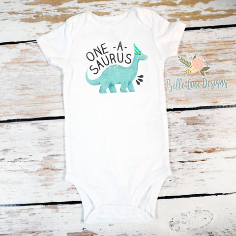 One-A-Saurus dinosaur | Short Sleeve Onesie or Shirt | Boy's Birthday, Boys | 533