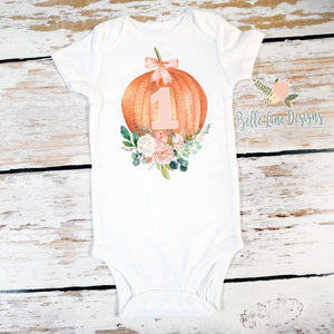 Number 1 Pumpkin | Short Sleeve Onesie or Shirt | Girl's Birthday, Girls | 547
