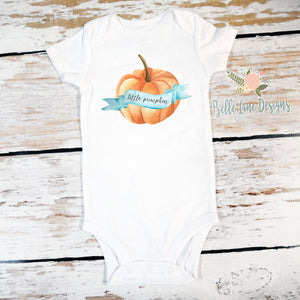 Little Pumpkin | Short or Long Sleeve Onesie | Pregnancy Announcement, Boys | 550
