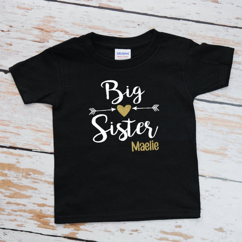 Big Sister with Arrow and Heart | Short Sleeve Shirt | Siblings, Girls | 032