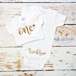 One with Heart and Name on the Bottom | Short or Long Sleeve Onesie | Girl's Birthday, Girls | 001